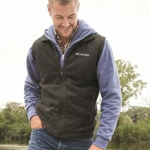 Columbia fleece gray zipper vest large